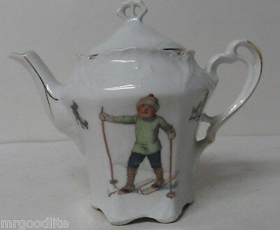 Fabulous Old Bavaria Porcelain Christmas Teapot - BOY ON SNOW SKIS