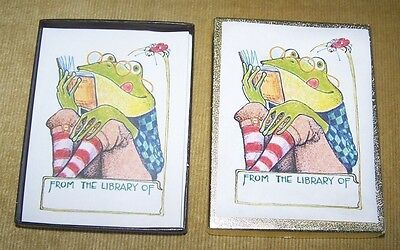 """49 Antioch Bookplates Frog & Ladybug """"From The Library Of"""""""