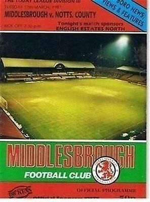 Middlesbrough Notts County 17/03/87 (Ayresome Park) old football programme
