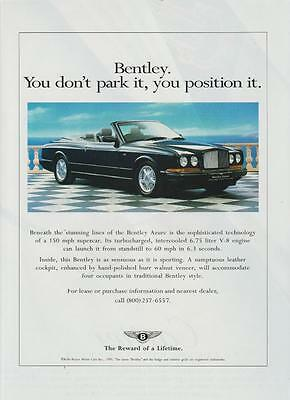 Bentley Azure Automobile Vintage Print Magazine Ad 1995 Rare