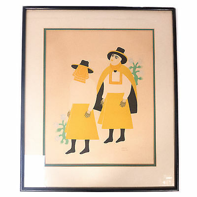 Vintage Framed Guatemalan Mexican Carlos Merida Signed Numbered Litho Print