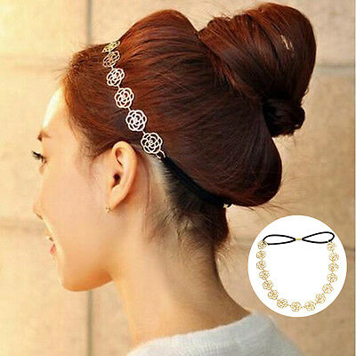 Lady Fashion Metal Chain Jewelry Hollow Rose Flower Elastic Hair Band Headband #