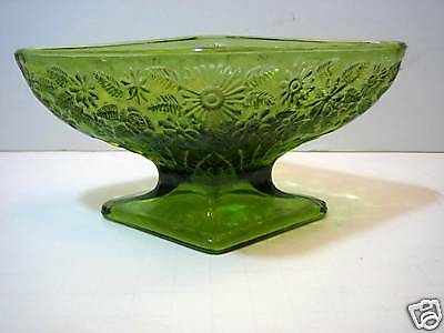 Indiana Compote Green Diamond Shape Pineapple & Floral