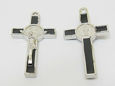 50X Enamel Black Cross Pendant Jewellery Finding 3.8x2x0.5cm