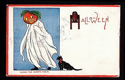 Halloween-Postcard-When the Ghosts Walk-Owl and Black Cat