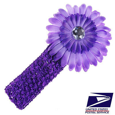 US Stock Cute Purple Baby Boy Girl Kid Crochet Headband Hair Band Flower