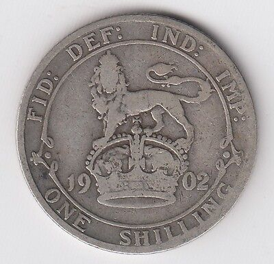 1902 Great Britain One 1 Shilling Edward Vii Sterling Silver World Coin