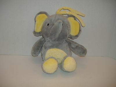 Carters Child of Mine Pull String Musical Plush Elephant Crib Toy Gray Yellow