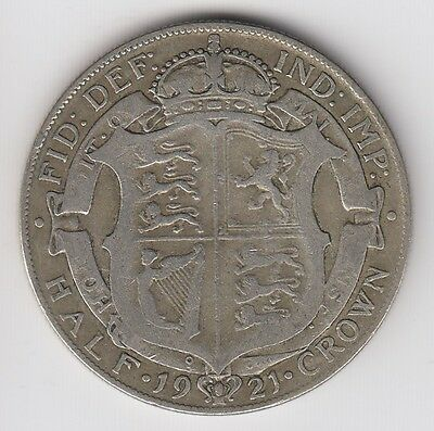 1921 Great Britain Half 1/2 Crown George V Silver World Coin
