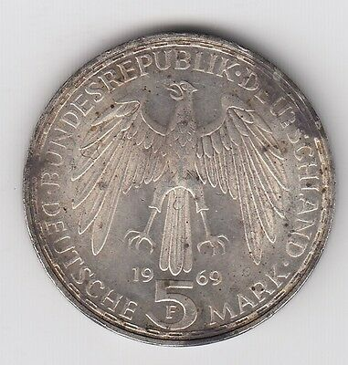 1969 Germany Five 5 Mark Silver World Coin