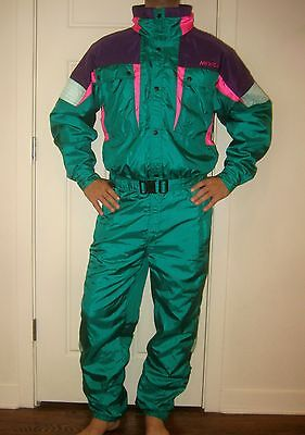 Vtg 80s NEVICA Green Snow Onesie SKI Suit BIB Coat Snowsuit neon Mens MEDIUM 40