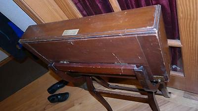 Antique late 1800's Campaign Desk - w attached metal & glass inkwell