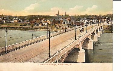 Early 1900's The Concrete Bridge in Kankakee, IL ILLinois PC