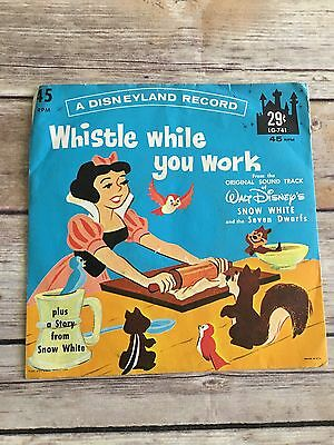 Whistle While You Work Vintage Disney Record 45 Snow White Little Gem Story