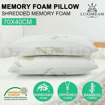 2x Shredded Memory Foam Pillow Bamboo Fabric Cover Soft Neck Support Home Hotel