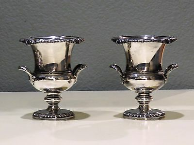 Pair of Silver Miniature urns toothpick holders? mark of 3 leaves with crest
