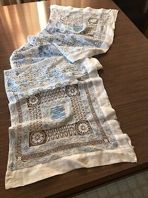 Antique Blue & White Chinese Embroidered Lace Runner Symbols Script