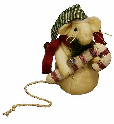 Primitives By Kathy Candy Cane Christmas Mouse Ornie Ornament Mice Holiday Santa