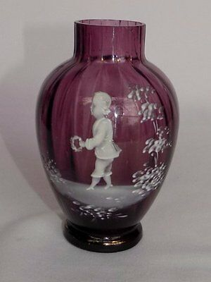 """Antique Mary Gregory Hand Painted Young Boy Hand Blown Amethyst Glass 5"""" Vase"""