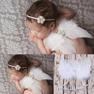 Newborn Baby Girls Boys White Angel Wings Costume Photo Photography Prop Outfits