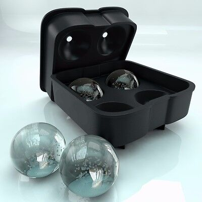 Round Ice Ball Maker Silicone Tray FOUR Whiskey Cube Molds Sphere Cocktails A MT