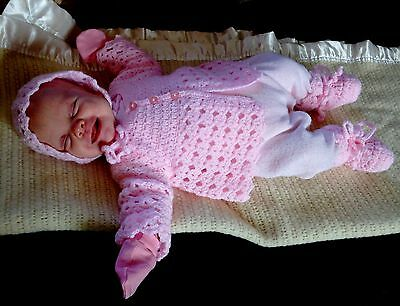 Hand Made Knitted/Crochet Baby Cardigan/Jacket Hat & Boots Various Colours 0-3
