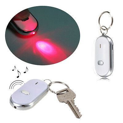 Alarm Locator Tracker Lost Key Finder Whistle Sound Control LED Tracer Keychain