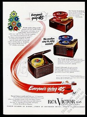 1950 RCA Victor 45rpm phonograph red blue green yellow records vintage print ad