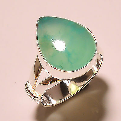 Chrysoprase 925 Sterling Silver Ring Size 9.25 Us