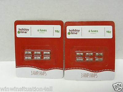 12 New Holiday Time  Replacement Miniature Fuses 3 Amp 125 VOLT