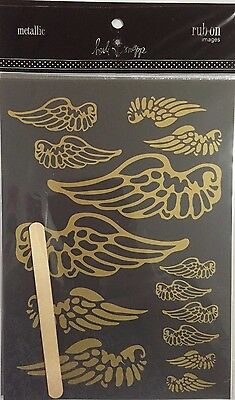 Heidi Swapp Metallic Rub-Ons: Wings Gold **BRAND NEW**
