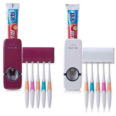 Bathroom Wall Mounted Automatic Toothpaste Dispenser W/ 5 Toothbrush Holder Set