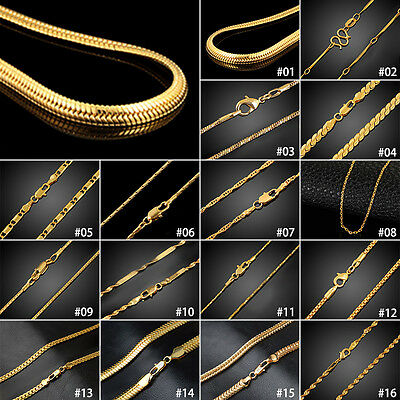 "Women Men 18k Gold Plated Snake Belcher Rope Chain Necklace 20-24"" Wedding Gifts"