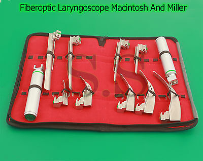 Fiberoptic Laryngoscope Macintosh And Miller 9 Blades And 2 Handles EMT Dental