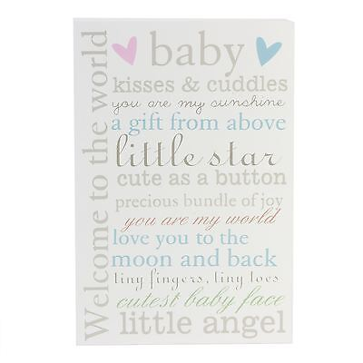 Bambino Baby Wall Plaque Welcome to the World Nursery Decoration