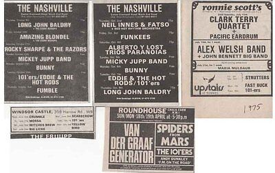 THE 101ers : 5 CONCERT ADVERTS -1975/76- the clash