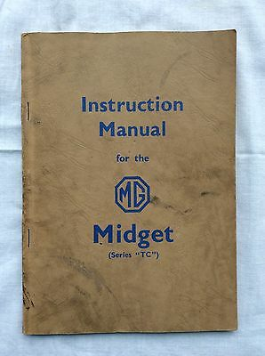 Original MG Midget Series TC Instruction Manual Book 1954
