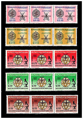 Paraguay 1962 Malaria Eradication Stamps Strips. 1962. Mint No Hinge.  #107