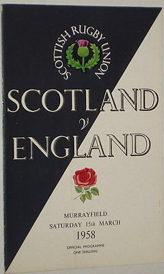 Scotland England Rugby Union Programme 1958