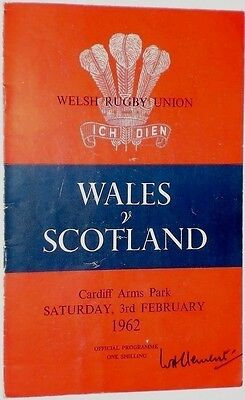 Wales Scotland  Rugby Union Programme 1962