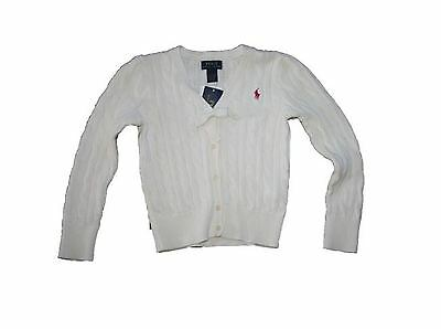 NEW Ralph Lauren Child Girls LS Cableknit Cardigan Sweater SIZE 5 Ivory NWT