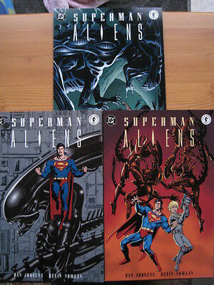 SUPERMAN vs ALIENS : COMPLETE 3 ISSUE DELUX PRESTIGE SERIES. DC /DARK HORSE.1995
