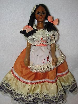 """9"""" Movable Wood Carved Doll From Costa Rica"""