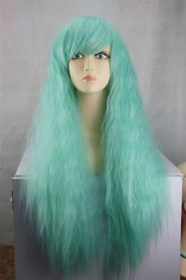 New Vogue Cosplay Long Green Mix Women Lady Girl Wavy Wig