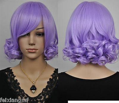 NEW light purple short curly cosplay wig