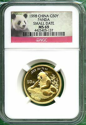 China  1998  Panda  1/2  Oz  Gold  50 Yuan   Ngc Ms 69  Small Date