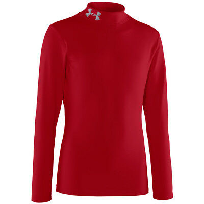 Under Armour Boys Coldgear Fitted Mock LS Base Layer - Red - S