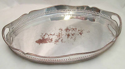 A Fine Silver Plated Tray with Galleried Edge - c1920