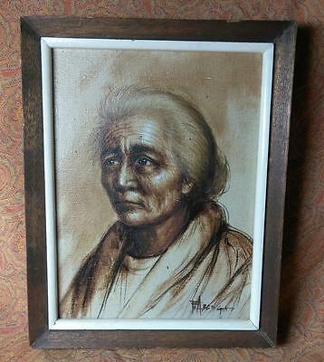 Old Vintage Retro Original Artist Signed Portrait Painting of Woman Lady Framed