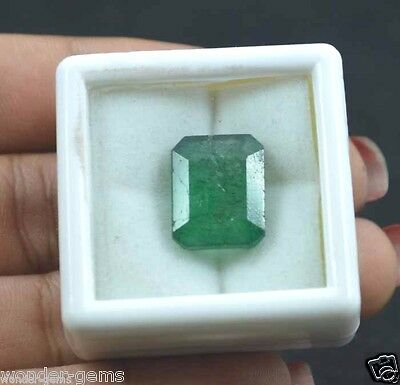 11.40Ct Natural Certified Emerald Cut Zambian Green Emerald Gemstone For Ring**